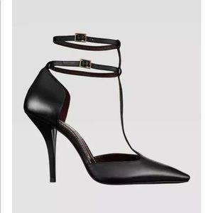 NWOT Zara black square toe double ankle strap heel
